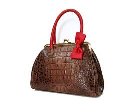 Preston & York P & Y Handbag Brown AlliCroc Leather Red Wrapped Handle B... - $51.66 CAD+