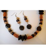 Wood Soap Stone Beaded Necklace Earrings Set Handmade Brown Butterscotch... - $70.00