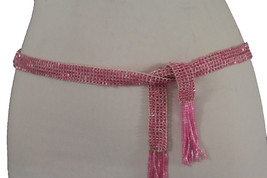 Women Pink Beads Fabric Sash Tie Fashion Belt Hip Waist Long Fringes Sca... - $14.69