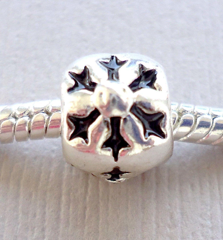 Set of three Charms Beads CHRISTMAS SNOWFLAKE Fits European style Bracelet С116 - $6.92