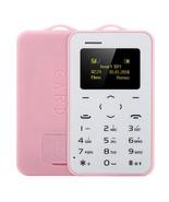 "aeku c6 card mobile phone pink 4.8mm ultra thin pocket slim 0.96"" qwerty... - $24.99"