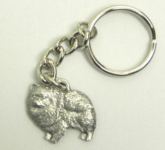 Pomeranian Dog Keychain Keyring Harris Pewter Made USA Key Chain Ring - $9.48