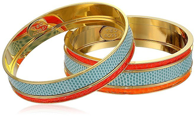 "Ted Rossi ""Resort"" Medium Lizard and Python and Mix Metal Bangle Bracelets"