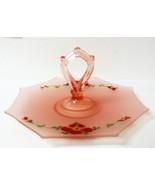 Vtg Frosted Pink Satin Depression Glass Handled TrayServer Heisey Octago... - $20.00
