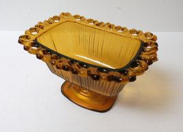 Vintage Indiana Glass Amber Candy Dish Lace & Ribbed Pattern Rectangle P... - $9.00