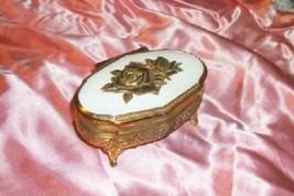 JAPAN VINTAGE ROSE GILT METAL JEWELRY CASKET BOX CHIC SHABBY COTTAGE - $18.99
