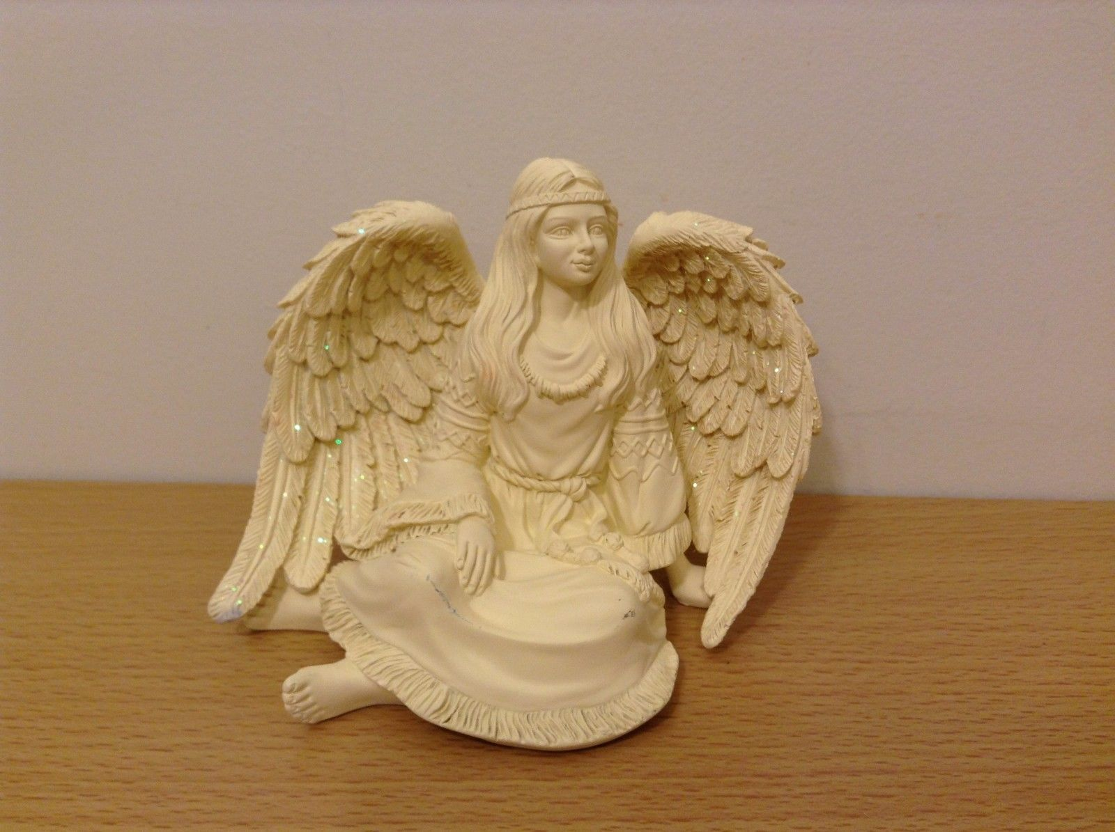 Native Spirit Sitting Angel Figurine Native Clothing Wing Glitter Resin