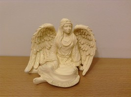 Native Spirit Sitting Angel Figurine Native Clothing Wing Glitter Resin  - $39.99