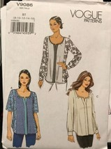 Vogue V9086 Pattern 3 Different Style Tops Uncut Sizes 8-16 - $20.55