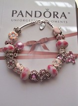 Authentic Pandora Sterling Silver Bracelet with Heart Pink European  charms - $102.85