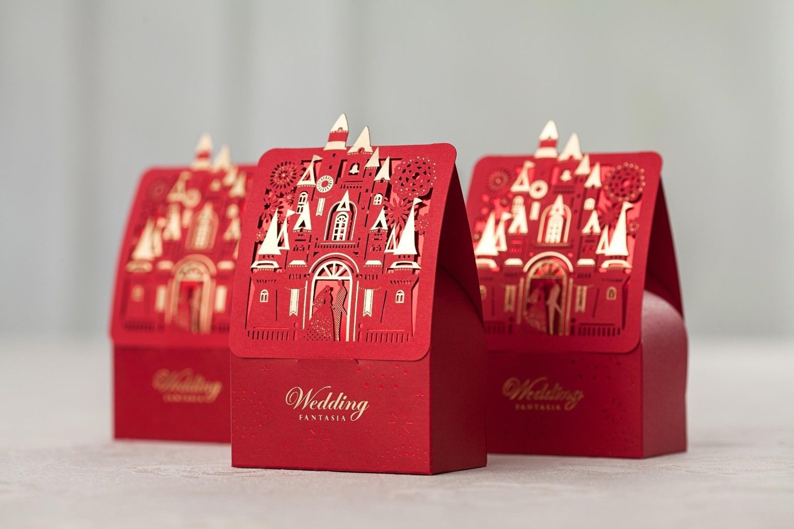 Red laser cut hollow wedding favor candy boxes CB5073, matching CW5073