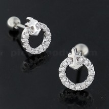 Cartilage Tragus Piercing Micro Jeweled Round with Anchor Ear Stud - $5.99