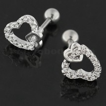 Cartilage Tragus Piercing Micro Jeweled Heart in Heart Ear Stud - $5.99
