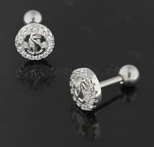 Cartilage Tragus Piercing Micro Jeweled Round Anchor Ear Stud - $5.99
