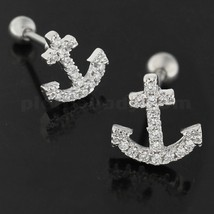 Cartilage Tragus Piercing Micro Jeweled Anchor Ear Stud - $5.99