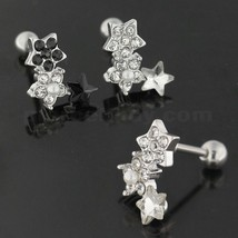 Cartilage Tragus Piercing Jeweled Flower with Star Ear Stud - $5.99