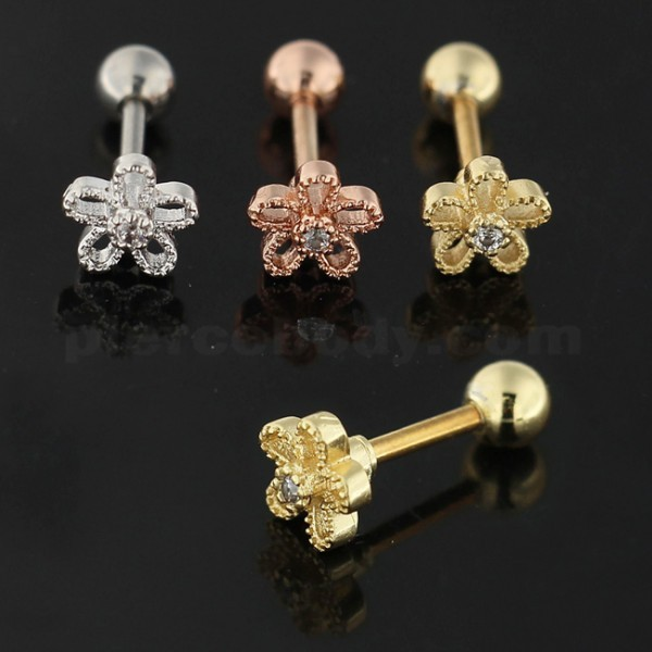 Cartilage Helix Tragus Piercing Center Jeweled Flower Ear Stud - $7.99