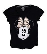 Disney Minnie Mouse With Animal Print Bow Womens Petite Pajama T Shirt Top - $12.99