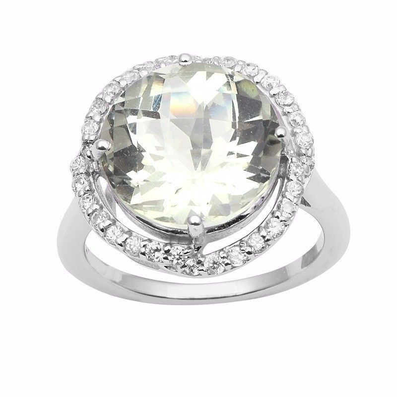 Women Collection Jewelry Green Amethyst Gemstone 925 Sterling Ring Sz 6 SHRI0955
