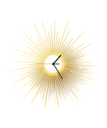 Stylish wooden wall clock with glistening golden paint - The Big Bang - $129.00