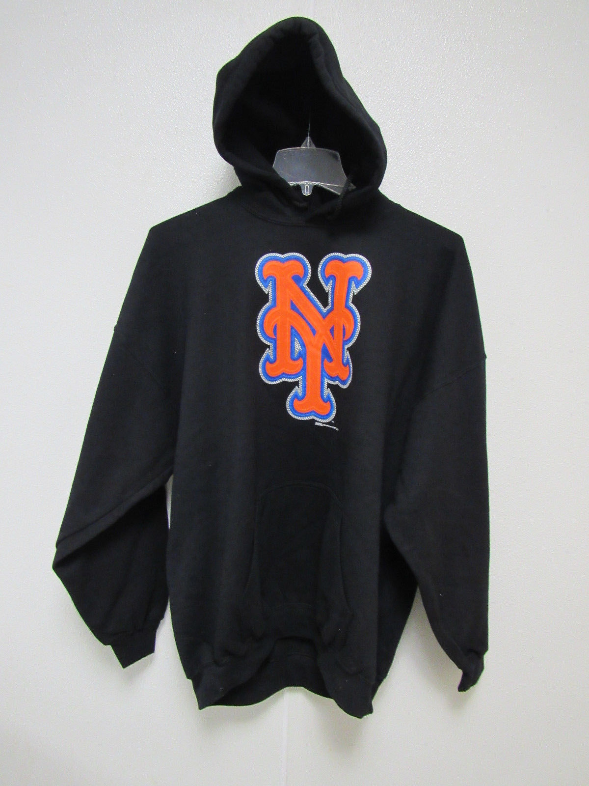 Primary image for NWT MLB PUFF SILK SCREEN HOODED PULLOVER SWEATSHIRT BLACK - NEW YORK METS - 2XL