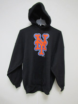 NWT MLB PUFF SILK SCREEN HOODED PULLOVER SWEATSHIRT BLACK - NEW YORK MET... - $29.99