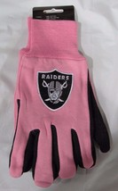 Nfl Nwt 2-TONE Pink No Slip Utility Work Gloves - Oakland Raiders - $12.95