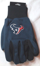 Nfl Nwt No Slip Utility Work Gloves - Houston Texans - Blue W/ Black Palm - $7.99