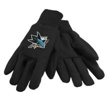 NHL NWT NO SLIP UTILITY WORK GLOVES - SAN JOSE SHARKS - BLACK W/ BLACK PALM - $8.59