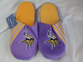 Nwt Nfl Stripe Logo Slide Slippers - Minnesota Vikings - Medium - $19.95