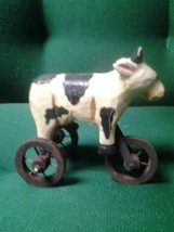 Wooden Black and White Cow on Wheels - $4.95