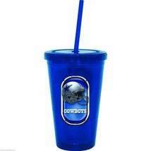 NIP NFL 16 OZ SIP N' GO TRAVEL TUMBLER W/ STRAW - DALLAS COWBOYS - $17.99