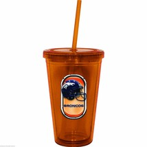NIP NFL 16 OZ SIP N' GO TRAVEL TUMBLER W/ STRAW - DENVER BRONCOS - $17.99