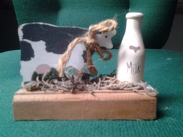 Wooden Cow and Milk Bottle Figurine - $8.42
