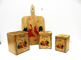 Vintage Stacking Wood Canister Set w/ Fighting ... - $10.99