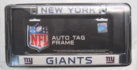 NFL NIB CHROME LICENSE PLATE FRAME- NEW YORK GIANTS - ALL BLUE THIN LETTERS - €11,88 EUR