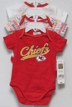 Nfl Nwt Infant ONESIE-SET Of 3- Kansas City Chiefs 3-6 Months - $29.95