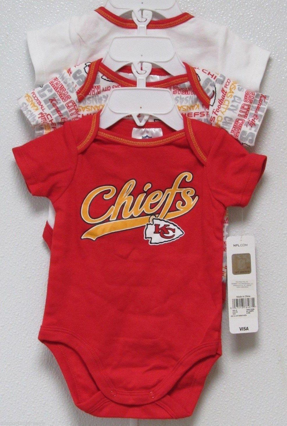 NFL NWT INFANT ONESIE-SET OF 3- KANSAS CITY CHIEFS 18 MONTHS - $29.95