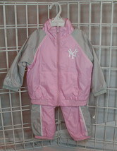 Nwt Mlb Youth Pink / Grey Satin Windbreaker Set - New York Yankees - 18M - $26.99
