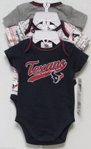 Nfl Nwt Infant ONESIE-SET Of 3- Houston Texans 6-12 Months - $29.95