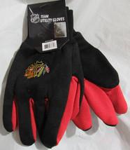NHL NWT NO SLIP PALM UTILITY GLOVES - CHICAGO BLACKHAWKS - BLACK W/ RED ... - £6.98 GBP