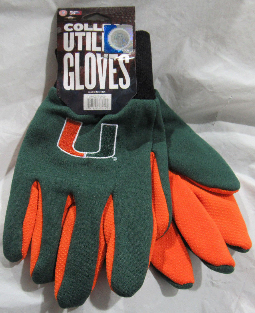 Primary image for NCAA NWT TEAM COLOR NO SLIP PALM UTILITY GLOVES - MIAMI HURRICANES