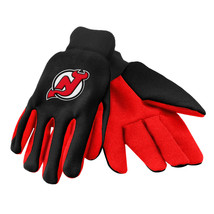 NHL NWT 2-TONE NO SLIP UTILITY WORK GLOVES - NEW JERSEY DEVILS-BLACK W/ ... - €9,13 EUR
