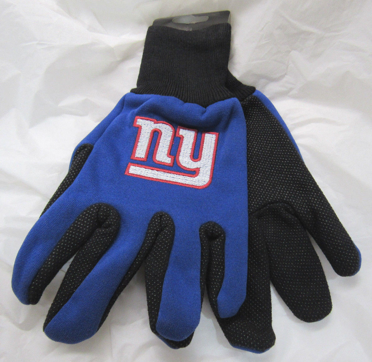 NFL NWT NO SLIP UTILITY WORK GLOVES - NEW YORK GIANTS - BLUE W/ BLACK PALM - $8.99
