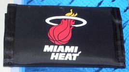 Nba Nwt Printed Tri Fold Nylon Wallet - Miami Heat On Black - $15.95