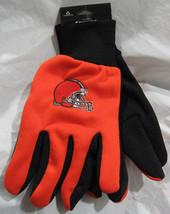 Nfl Nwt No Slip Palm Utility Gloves - Cleveland Browns - Orange W/ Black Palm - $9.95