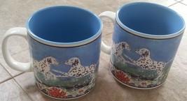 2 Dalmatian Dogs Mug Cup Set 11 oz ceramic Dishwasher Microwave Safe Gan... - $29.69