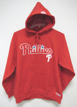 NWT MLB RED HOODED PULLOVER SWEATSHIRT 2 LOGOS - PHILADELPHIA PHILLIES - LG - $49.95