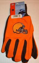Nfl Nwt No Slip Utility Work Gloves - Cleveland Browns - Orange W/ Brown Palm - $7.99