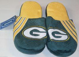 NWT NFL STRIPE LOGO SLIDE SLIPPERS - GREEN BAY PACKERS - MEDIUM - $19.95